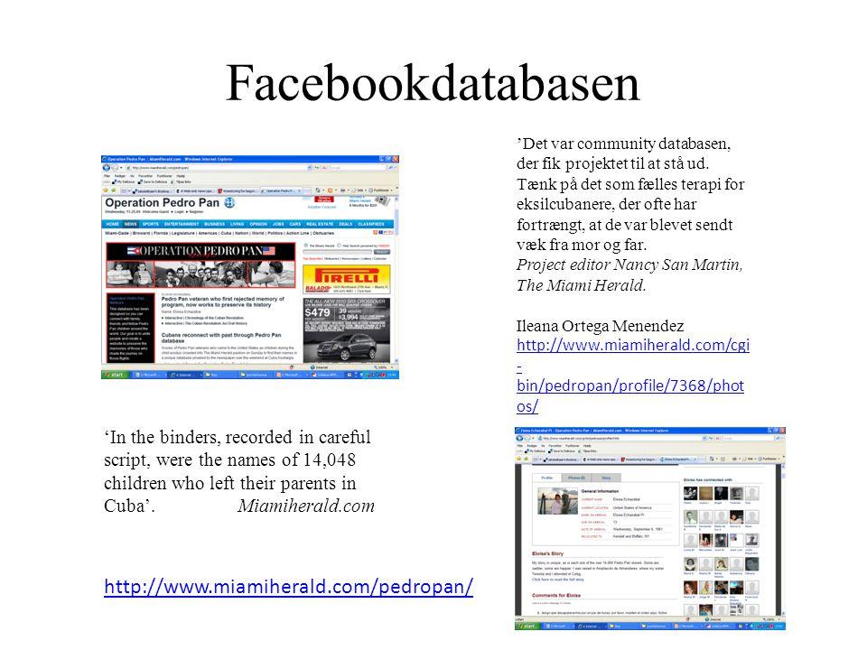 Facebookdatabasen 'Det var community databasen, der fik projektet til at stå ud.