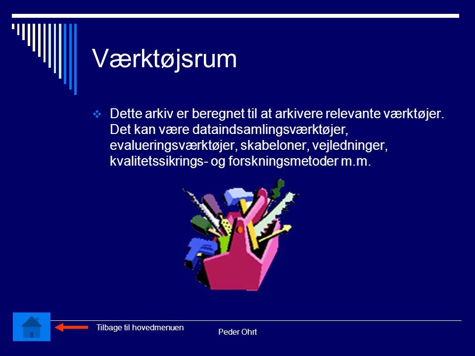 Peder Ohrt Værktøjsrum  Dette arkiv er beregnet til at arkivere relevante værktøjer.
