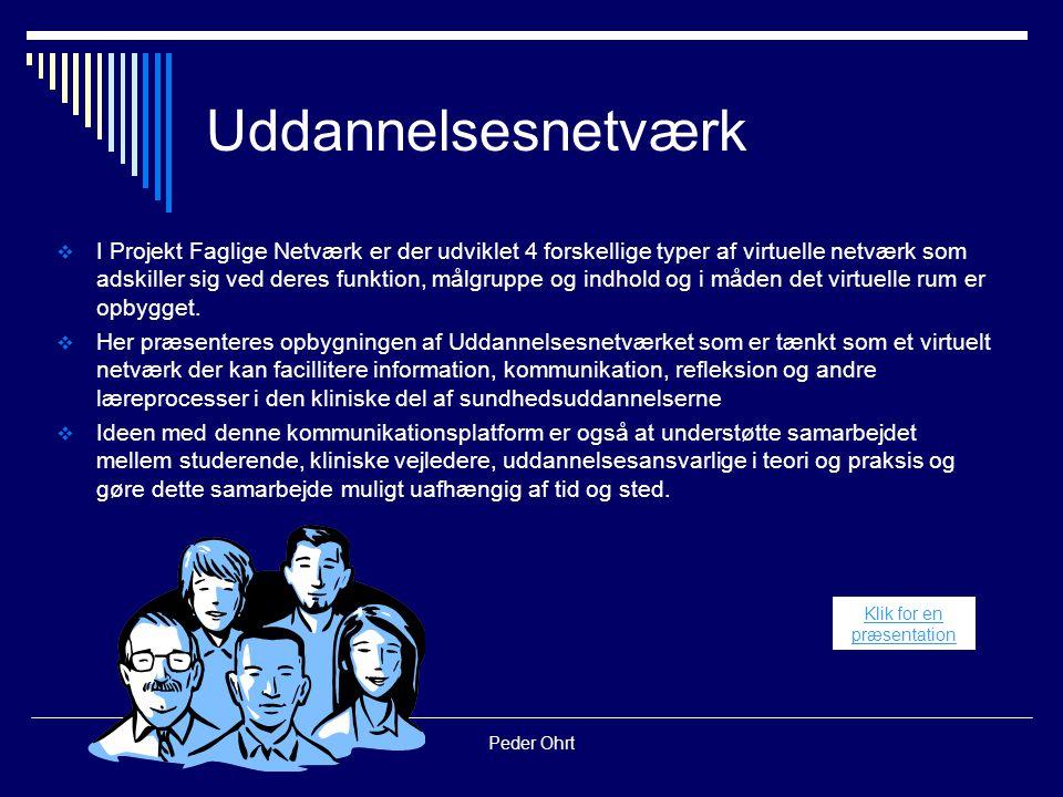 Peder Ohrt Uddannelsesnetværk  I Projekt Faglige Netværk er der udviklet 4 forskellige typer af virtuelle netværk som adskiller sig ved deres funktion, målgruppe og indhold og i måden det virtuelle rum er opbygget.