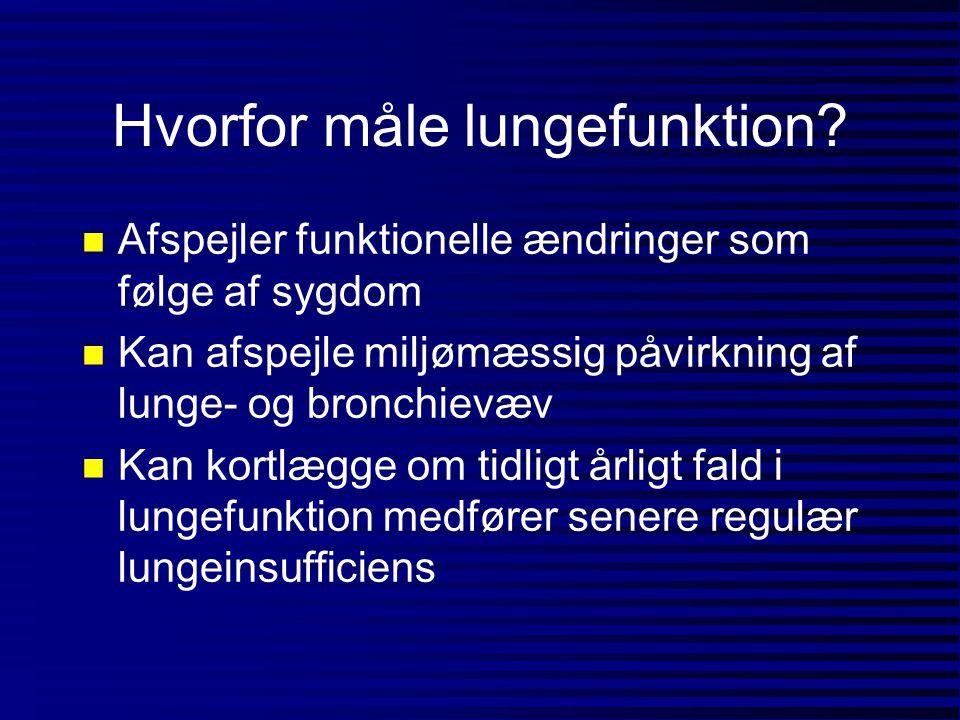 Lungefunktion (% forventet) blandt svejsere og kontroller I 1987 (n=135) rygere tidl.