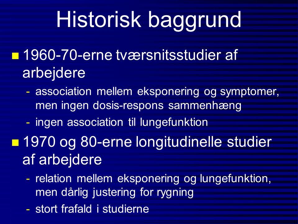 Historisk baggrund n 1960-70-erne tværsnitsstudier af arbejdere -association mellem eksponering og symptomer, men ingen dosis-respons sammenhæng -inge