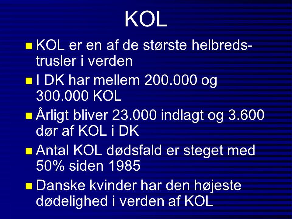 Arbejdsbetinget KOL n Årsagen til KOL findes i 15-19% af tilfældene fra eksponering for støv, gas, damp eller røg fra arbejdet (polulation attributable risk, PAR) n Blandt ikke rygere er PAR for KOL ca.