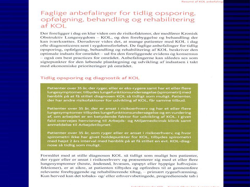 Eksponeringer relateret til arbejdsbetinget KOL n kvarts (kiselsyre, SiO 2 ) n svejserøg n træstøv n asbest n staldstøv