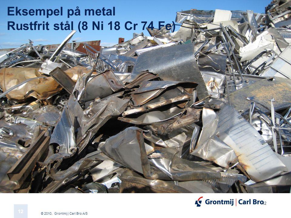 © 2010, Grontmij | Carl Bro A/S 12 Eksempel på metal Rustfrit stål (8 Ni 18 Cr 74 Fe)