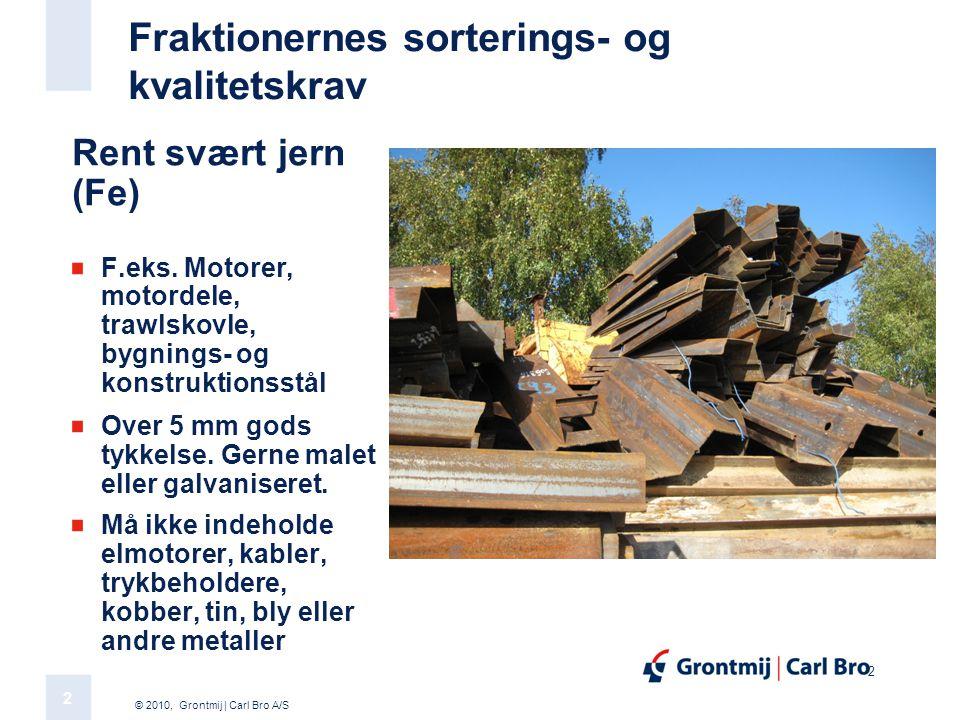 © 2010, Grontmij | Carl Bro A/S 2 2 Fraktionernes sorterings- og kvalitetskrav Rent svært jern (Fe) F.eks.
