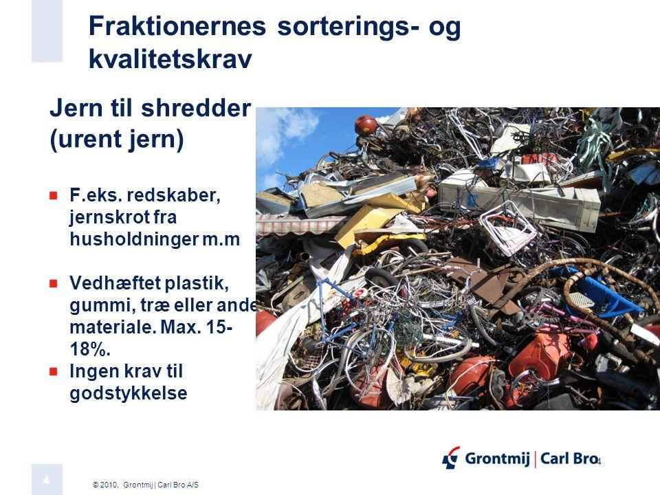 © 2010, Grontmij | Carl Bro A/S 4 4 Fraktionernes sorterings- og kvalitetskrav Jern til shredder (urent jern) F.eks.