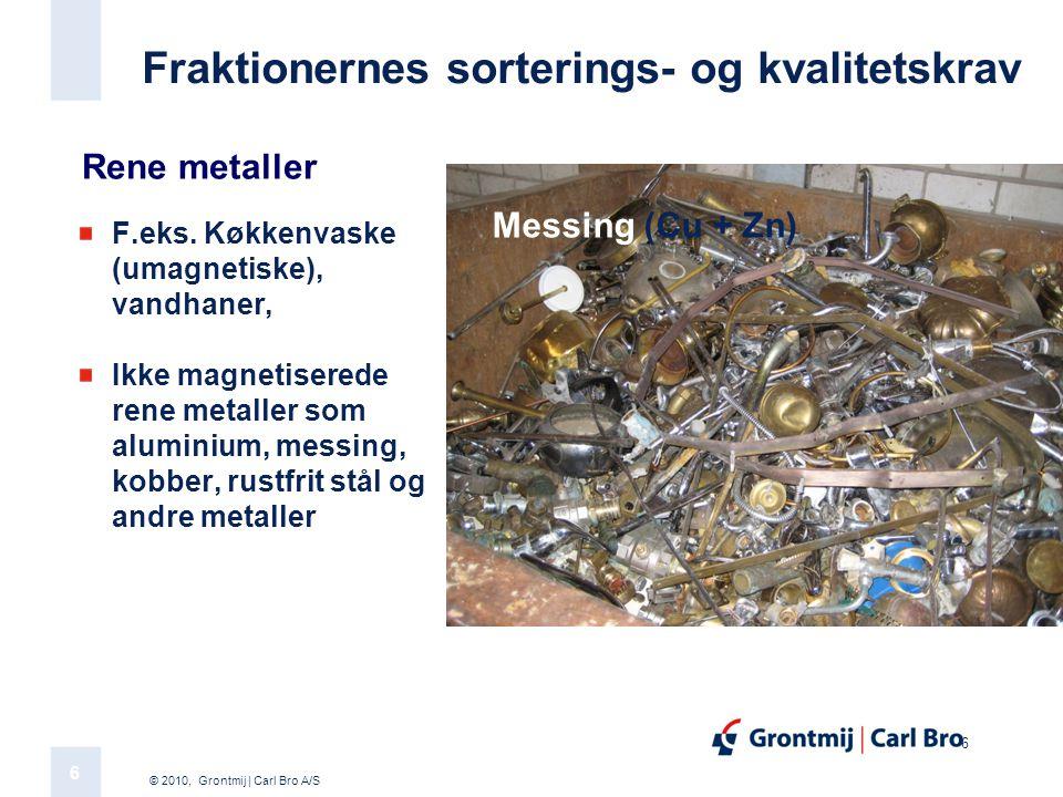 © 2010, Grontmij | Carl Bro A/S 6 6 Fraktionernes sorterings- og kvalitetskrav F.eks.