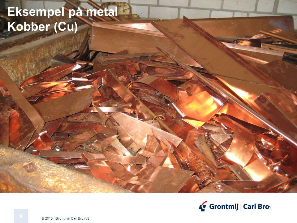 © 2010, Grontmij | Carl Bro A/S 9 9 Eksempel på metal Kobber (Cu)