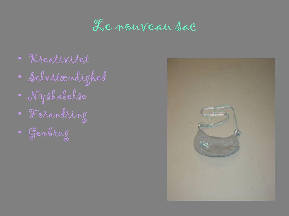 Le nouveau sac •Kreativitet •Selvstændighed •Nyskabelse •Forandring •Genbrug