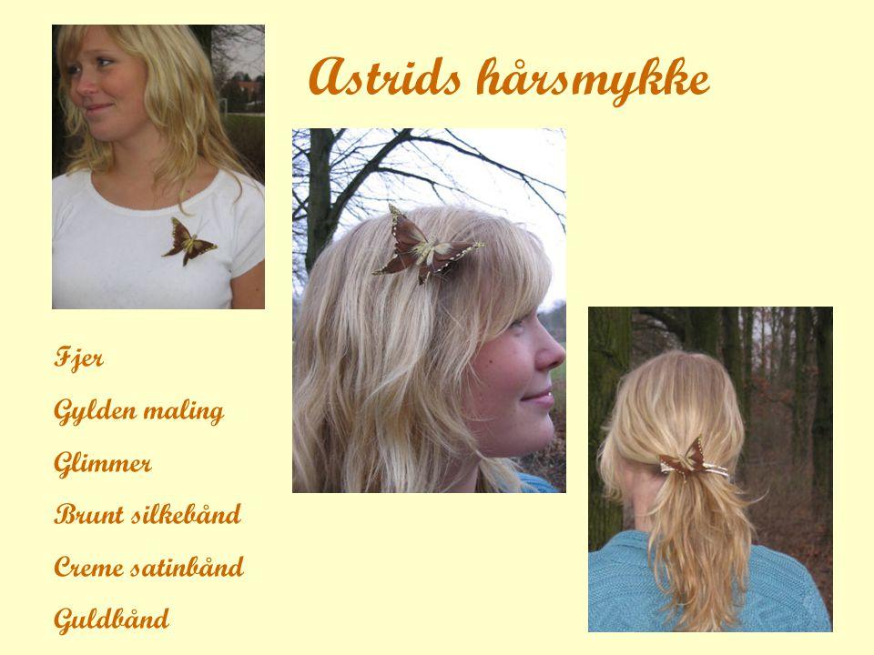 Astrids hårsmykke Fjer Gylden maling Glimmer Brunt silkebånd Creme satinbånd Guldbånd