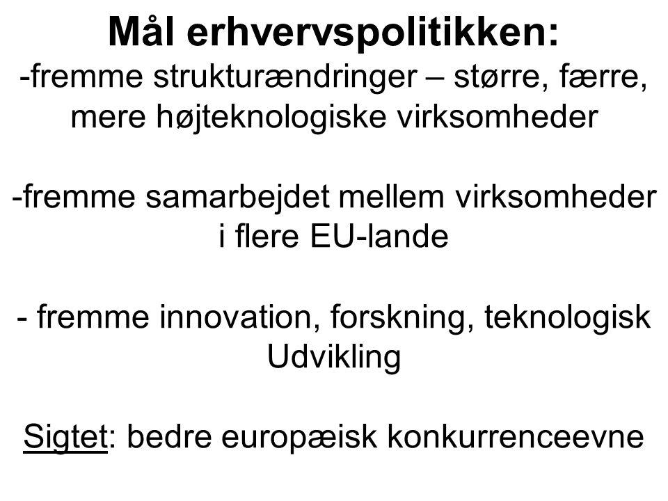 Mål erhvervspolitikken: -fremme strukturændringer – større, færre, mere højteknologiske virksomheder -fremme samarbejdet mellem virksomheder i flere EU-lande - fremme innovation, forskning, teknologisk Udvikling Sigtet: bedre europæisk konkurrenceevne