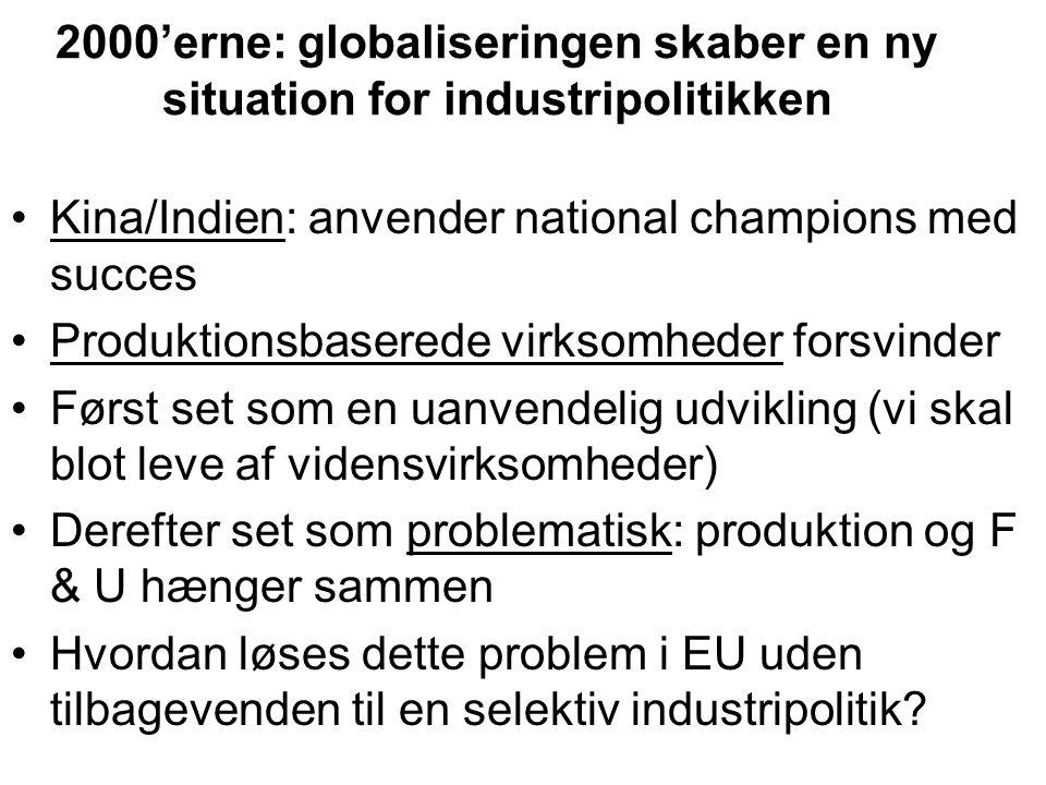 2000'erne: globaliseringen skaber en ny situation for industripolitikken •Kina/Indien: anvender national champions med succes •Produktionsbaserede virksomheder forsvinder •Først set som en uanvendelig udvikling (vi skal blot leve af vidensvirksomheder) •Derefter set som problematisk: produktion og F & U hænger sammen •Hvordan løses dette problem i EU uden tilbagevenden til en selektiv industripolitik