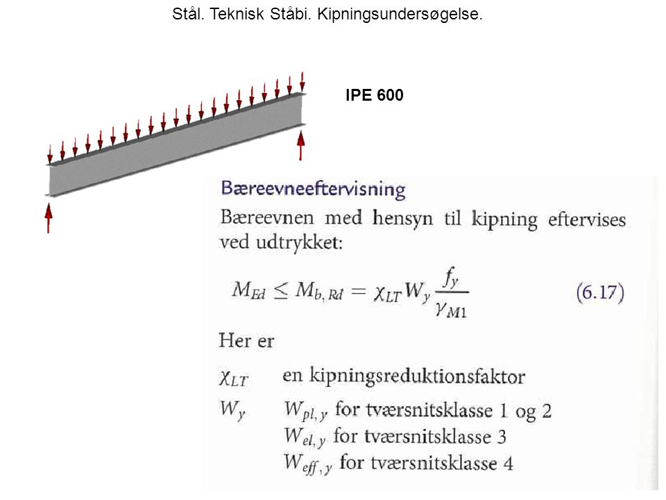 Stål. Teknisk Ståbi. Kipningsundersøgelse. IPE 600