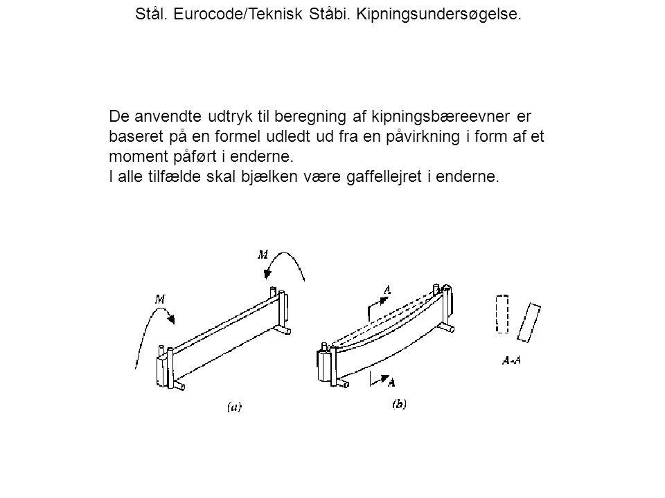 Stål.Eurocode/Teknisk Ståbi. Kipningsundersøgelse.