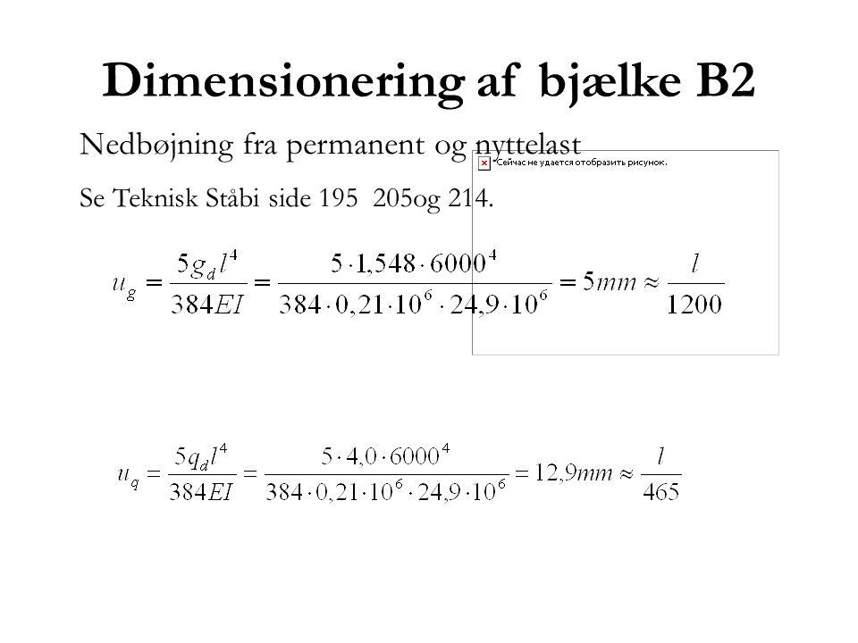 Dimensionering af bjælke B2 Nedbøjning fra permanent og nyttelast Se Teknisk Ståbi side 195 205og 214.