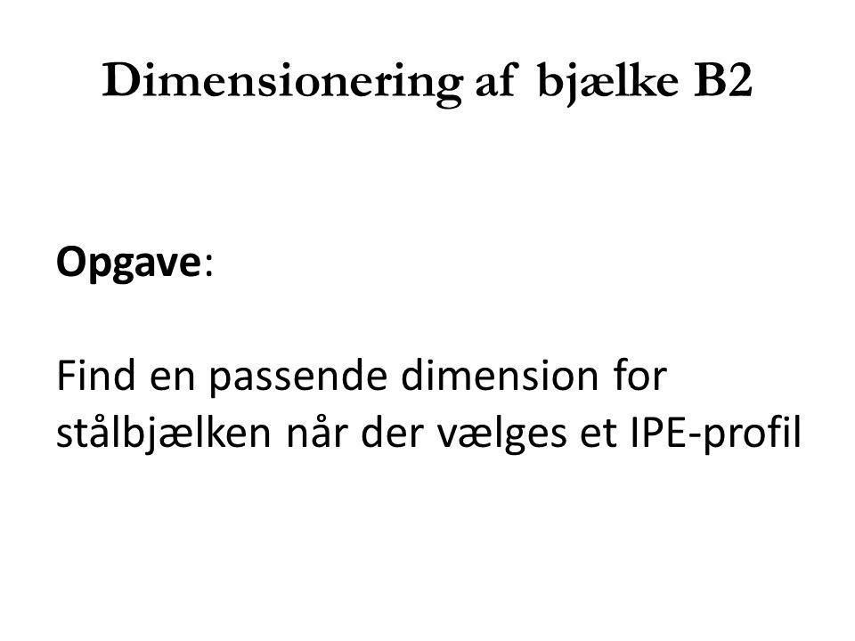 Dimensionering af bjælke B2 Opgave: Find en passende dimension for stålbjælken når der vælges et IPE-profil