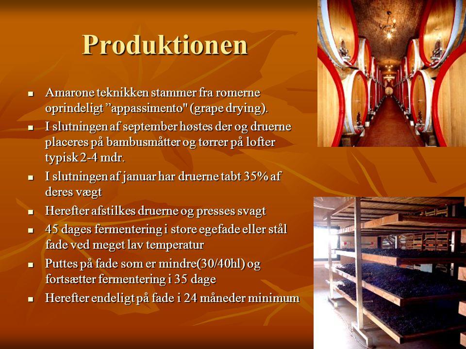 Produktionen  Amarone teknikken stammer fra romerne oprindeligt appassimento (grape drying).