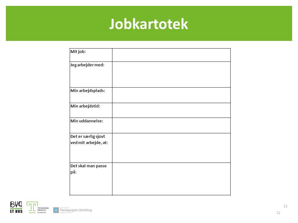 Jobkartotek 22 Mit job: Jeg arbejder med: Min arbejdsplads: Min arbejdstid: Min uddannelse: Det er særlig sjovt ved mit arbejde, at: Det skal man passe på: