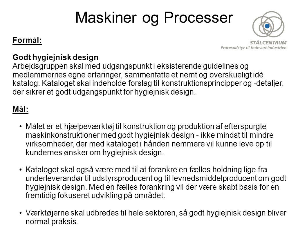 Maskiner og Processer Formål: Godt hygiejnisk design Arbejdsgruppen skal med udgangspunkt i eksisterende guidelines og medlemmernes egne erfaringer, sammenfatte et nemt og overskueligt idé katalog.