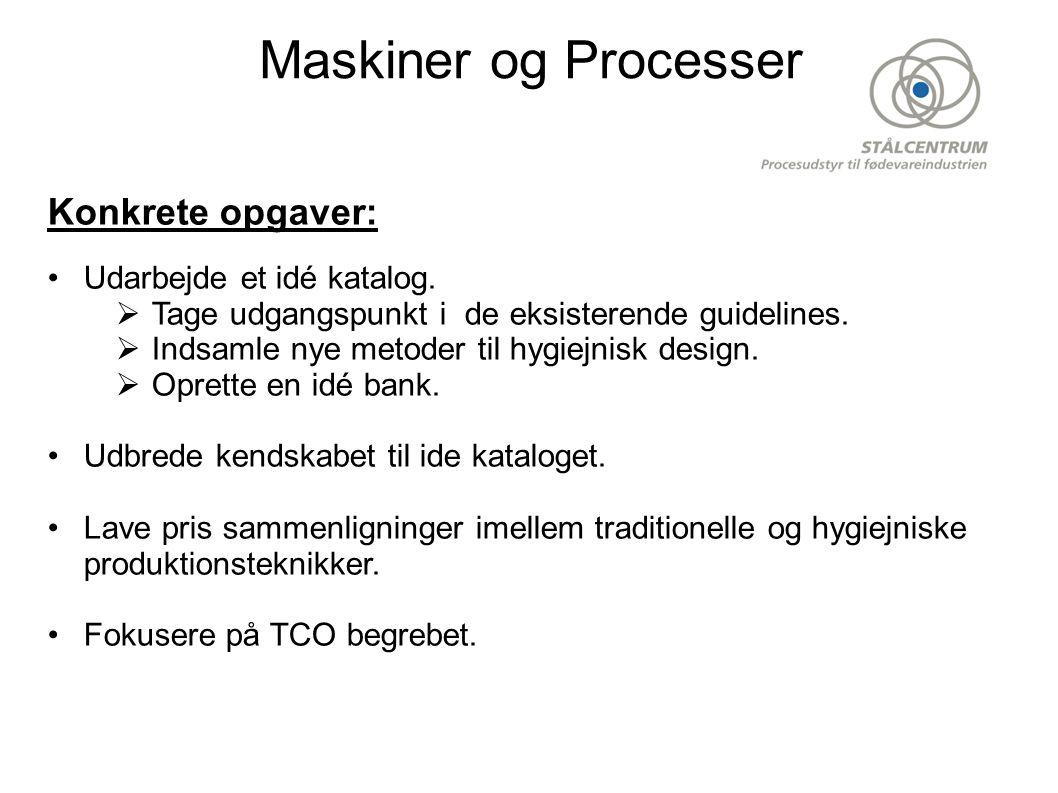 Maskiner og Processer Konkrete opgaver: •Udarbejde et idé katalog.