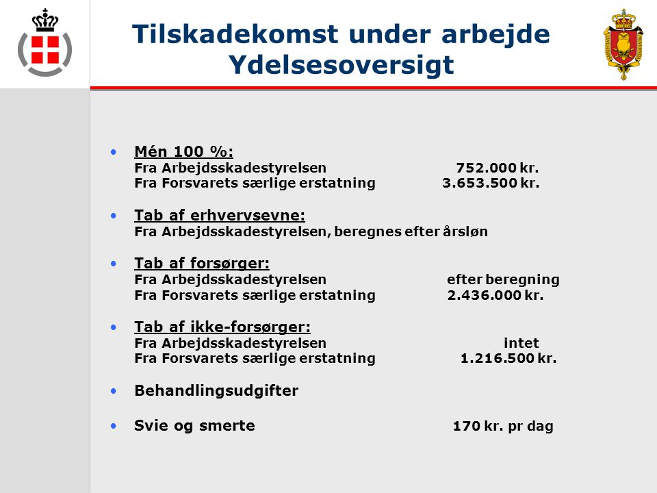 Tilskadekomst under arbejde Ydelsesoversigt •Mén 100 %: Fra Arbejdsskadestyrelsen 752.000 kr.