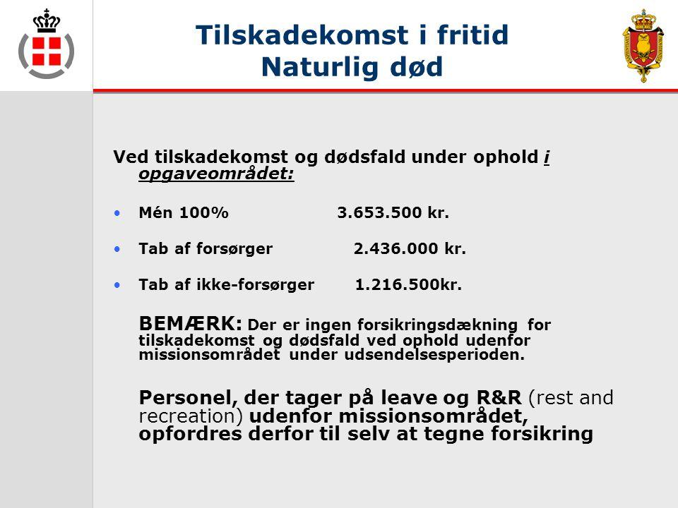Tilskadekomst i fritid Naturlig død Ved tilskadekomst og dødsfald under ophold i opgaveområdet: •Mén 100% 3.653.500 kr.