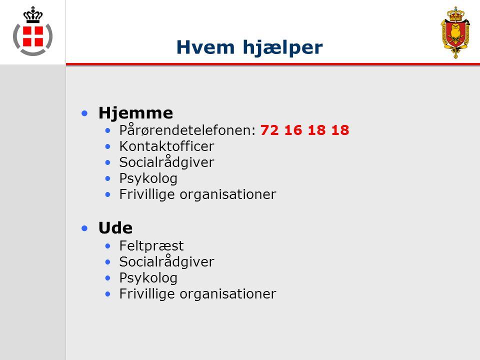 Hvem hjælper •Hjemme •Pårørendetelefonen: 72 16 18 18 •Kontaktofficer •Socialrådgiver •Psykolog •Frivillige organisationer •Ude •Feltpræst •Socialrådgiver •Psykolog •Frivillige organisationer