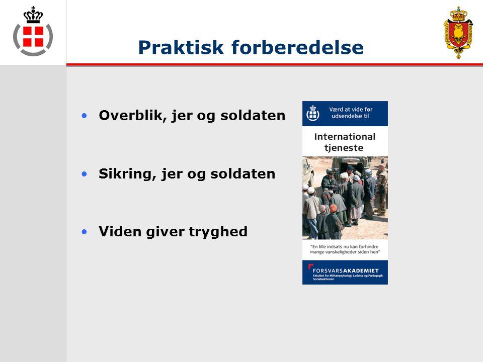 Praktisk forberedelse •Overblik, jer og soldaten •Sikring, jer og soldaten •Viden giver tryghed