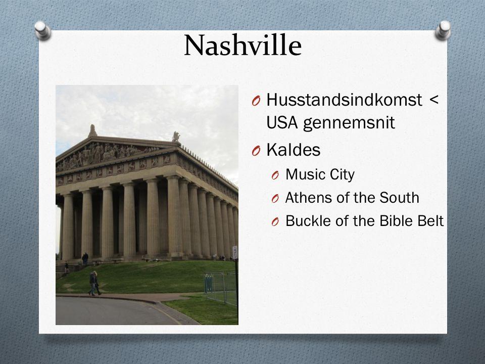 Nashville O Husstandsindkomst < USA gennemsnit O Kaldes O Music City O Athens of the South O Buckle of the Bible Belt