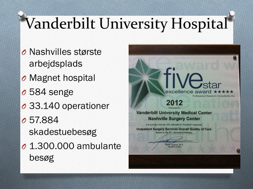 Vanderbilt University Hospital O Nashvilles største arbejdsplads O Magnet hospital O 584 senge O 33.140 operationer O 57.884 skadestuebesøg O 1.300.000 ambulante besøg
