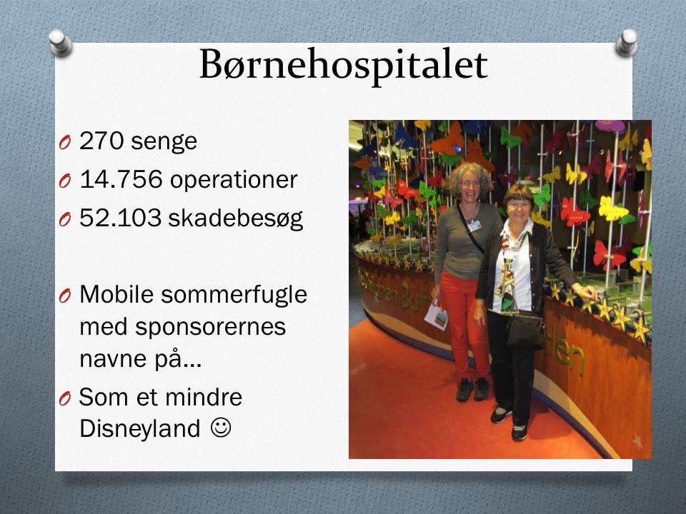 Børnehospitalet O 270 senge O 14.756 operationer O 52.103 skadebesøg O Mobile sommerfugle med sponsorernes navne på… O Som et mindre Disneyland 