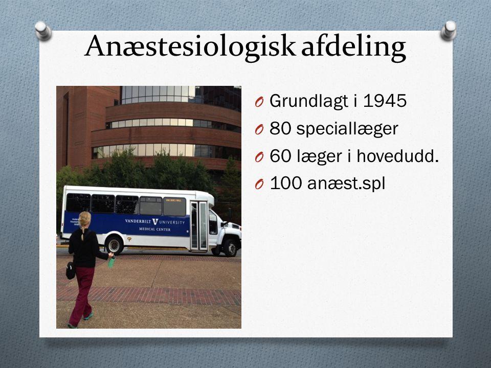 Anæstesiologisk afdeling O Grundlagt i 1945 O 80 speciallæger O 60 læger i hovedudd.