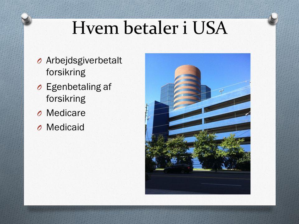 Hvem betaler i USA O Arbejdsgiverbetalt forsikring O Egenbetaling af forsikring O Medicare O Medicaid