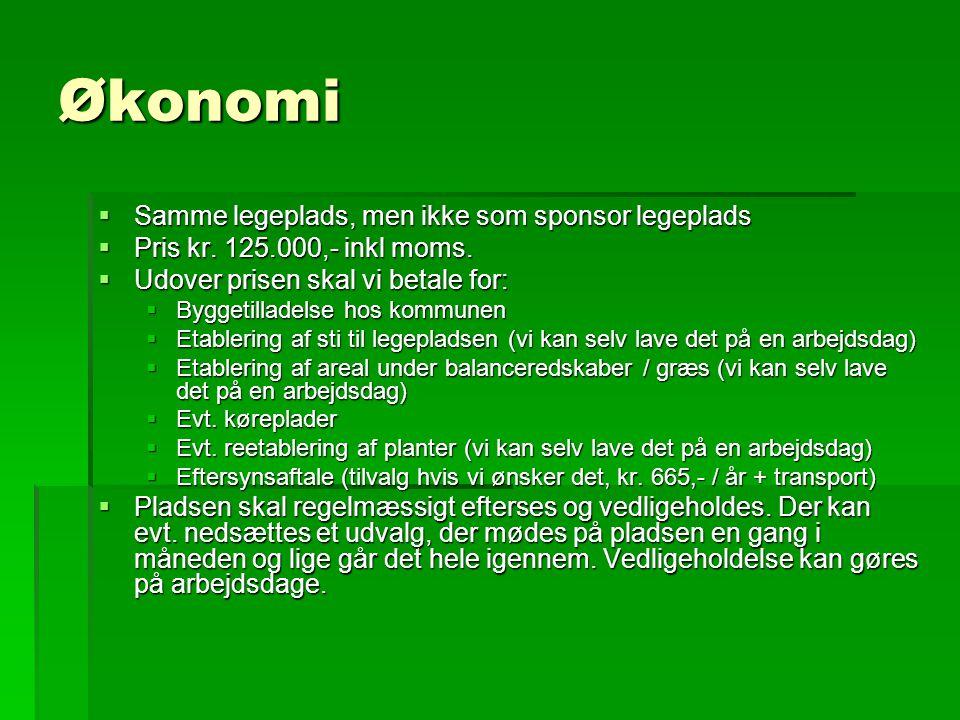 Økonomi  Samme legeplads, men ikke som sponsor legeplads  Pris kr.