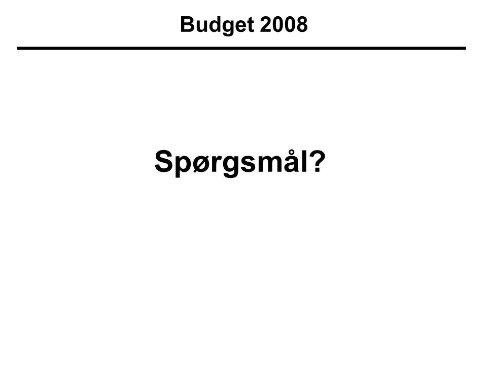 Budget 2008 Spørgsmål