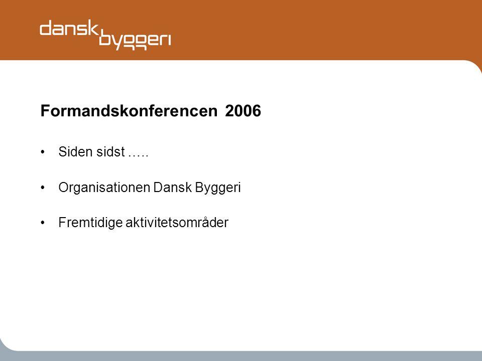 Formandskonferencen 2006 •Siden sidst …..