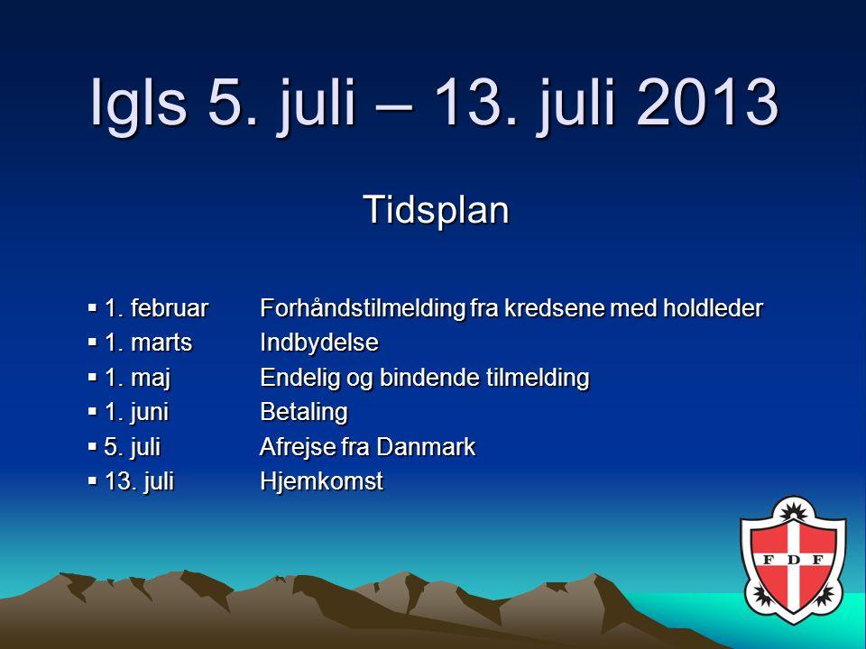 Igls 5. juli – 13. juli 2013 Tidsplan  1.