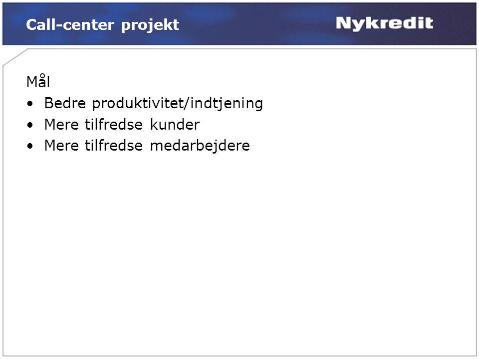Call-center projekt Mål •Bedre produktivitet/indtjening •Mere tilfredse kunder •Mere tilfredse medarbejdere
