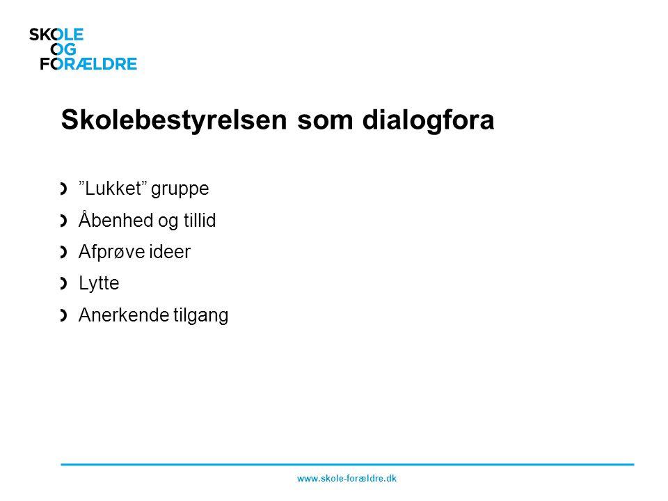 Skolebestyrelsen som dialogfora Lukket gruppe Åbenhed og tillid Afprøve ideer Lytte Anerkende tilgang www.skole-forældre.dk