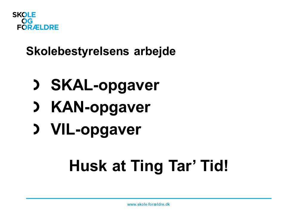 Skolebestyrelsens arbejde SKAL-opgaver KAN-opgaver VIL-opgaver Husk at Ting Tar' Tid.