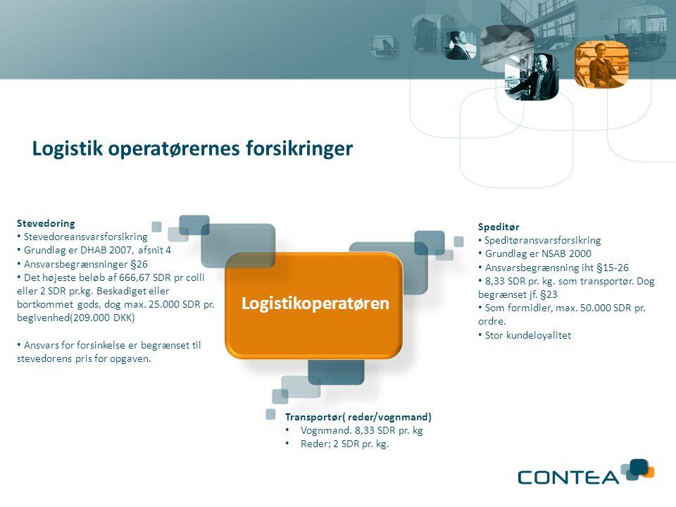 Logistik operatørernes forsikringer Stevedoring • Stevedoreansvarsforsikring • Grundlag er DHAB 2007, afsnit 4 • Ansvarsbegrænsninger §26 • Det højeste beløb af 666,67 SDR pr colli eller 2 SDR pr.kg.
