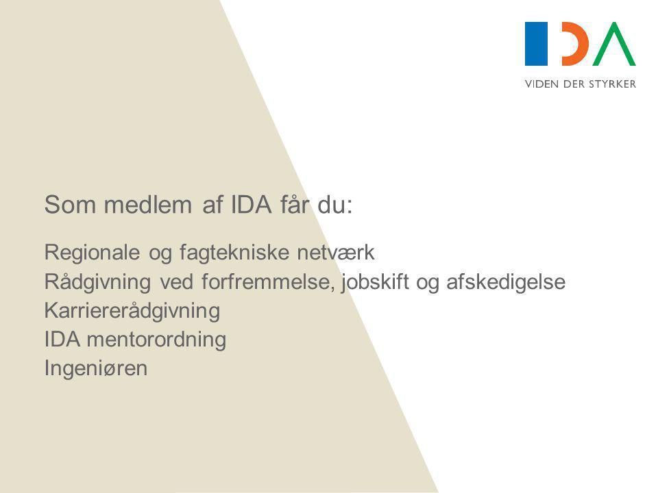 Som medlem af IDA får du: Regionale og fagtekniske netværk Rådgivning ved forfremmelse, jobskift og afskedigelse Karriererådgivning IDA mentorordning Ingeniøren