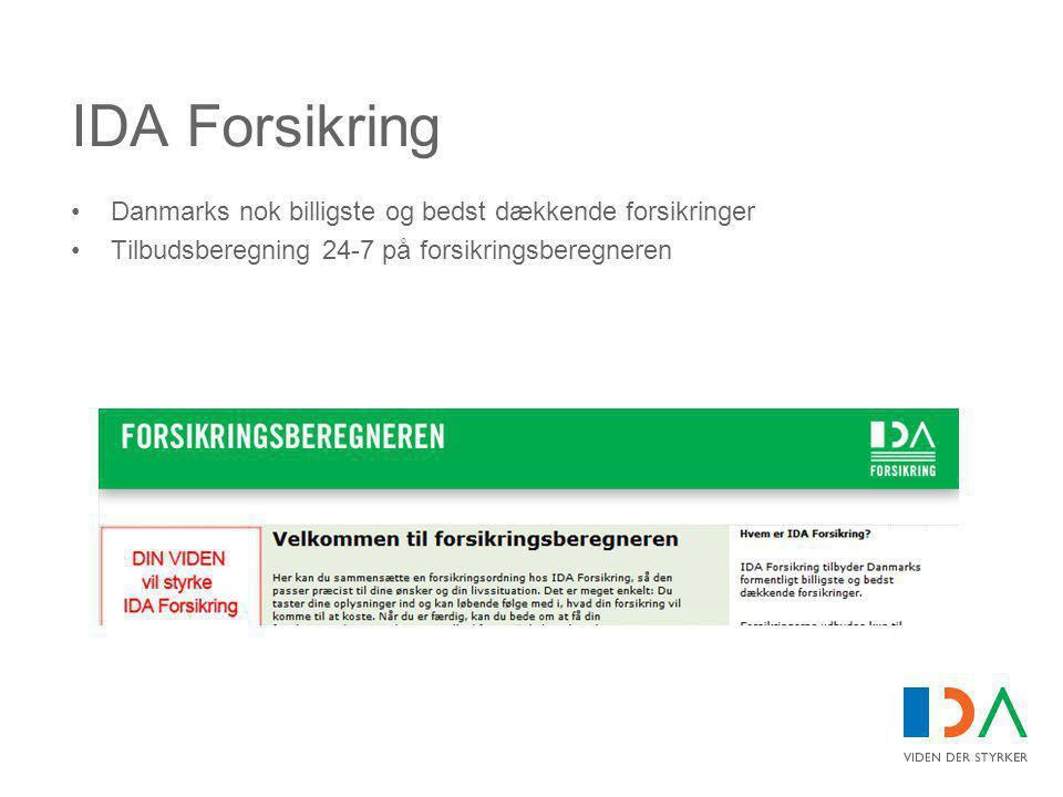 IDA Forsikring •Danmarks nok billigste og bedst dækkende forsikringer •Tilbudsberegning 24-7 på forsikringsberegneren