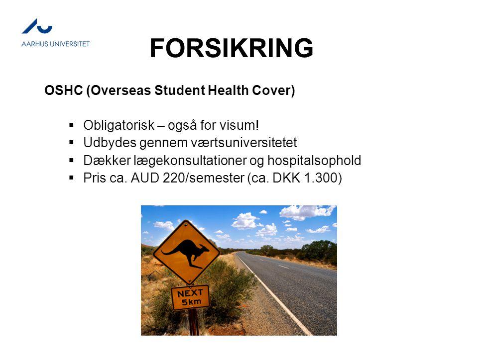 FORSIKRING OSHC (Overseas Student Health Cover)  Obligatorisk – også for visum.