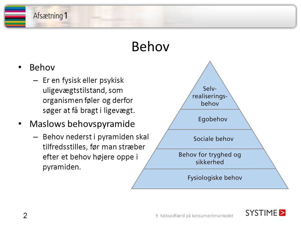 Maslows behovspyramide 3 • Fysisk behov – Slut, tørst, varme, sex og søvn.