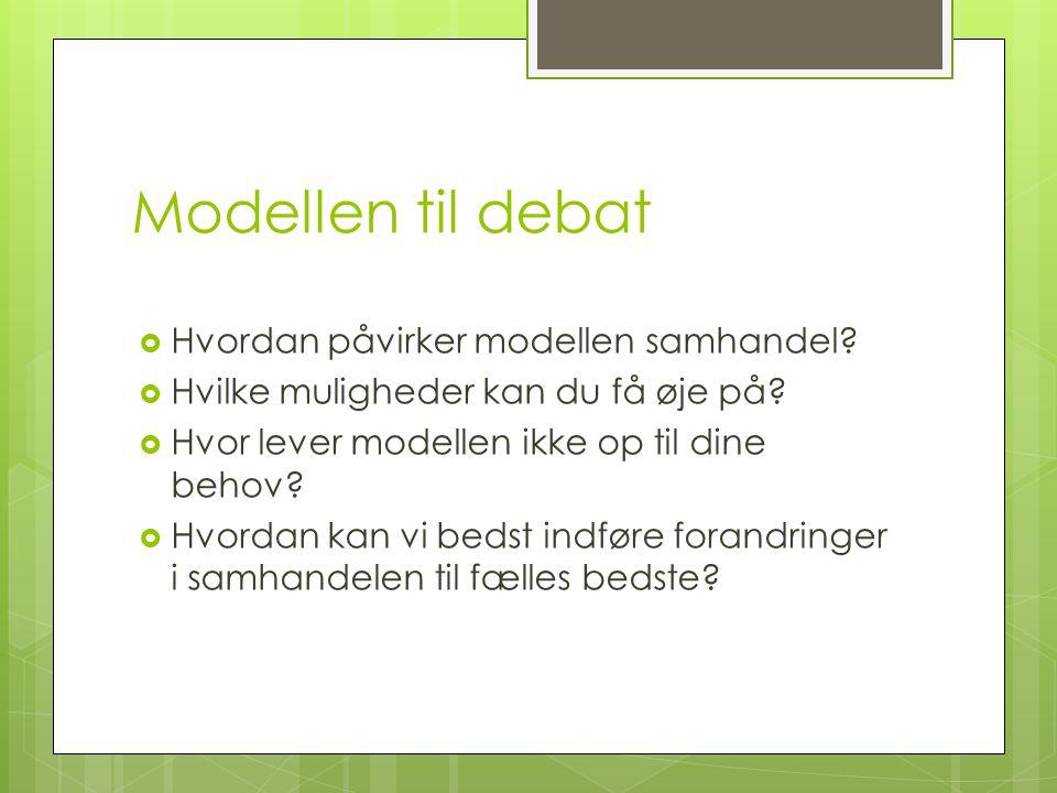 Modellen til debat  Hvordan påvirker modellen samhandel.