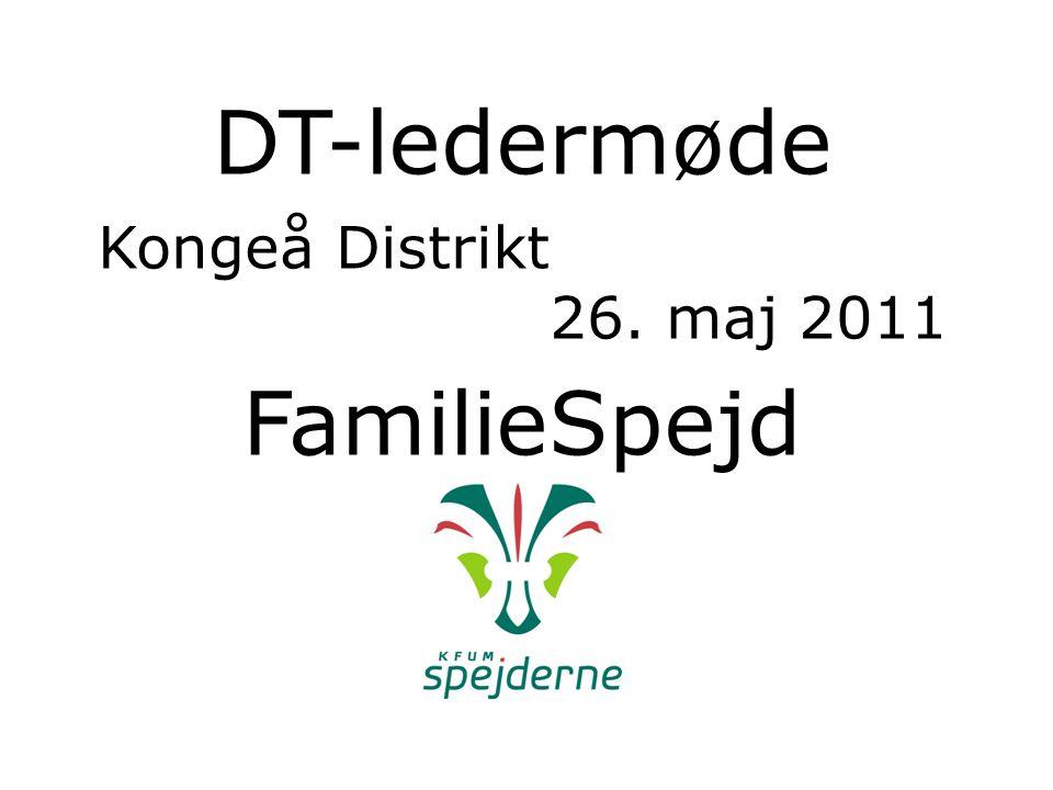 DT-ledermøde Kongeå Distrikt 26. maj 2011 FamilieSpejd