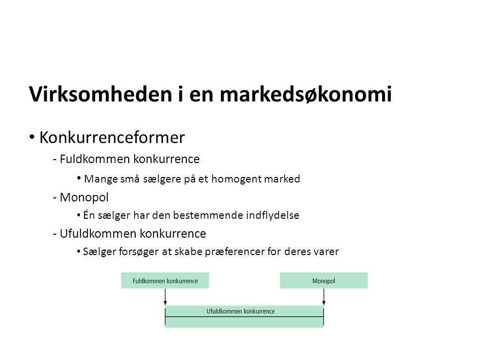 Virksomheden i en markedsøkonomi • Konkurrenceformer - Fuldkommen konkurrence • Mange små sælgere på et homogent marked - Monopol • Én sælger har den