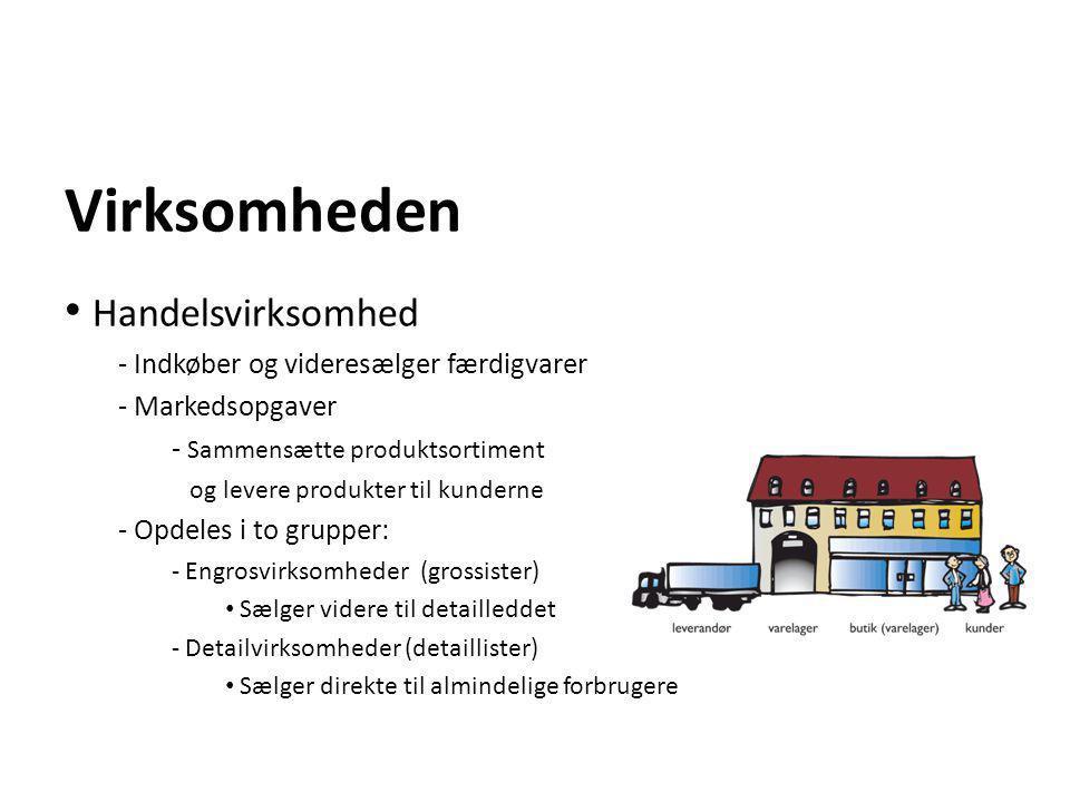 Virksomheden • Handelsvirksomhed - Indkøber og videresælger færdigvarer - Markedsopgaver - Sammensætte produktsortiment og levere produkter til kunder