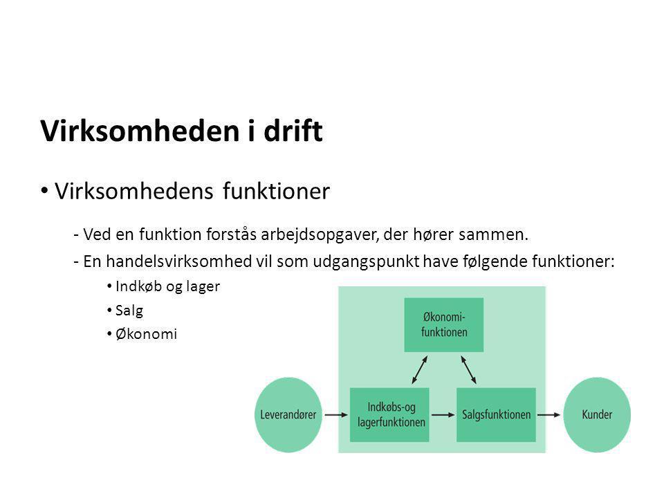 Virksomheden i drift - Ved en funktion forstås arbejdsopgaver, der hører sammen. - En handelsvirksomhed vil som udgangspunkt have følgende funktioner: